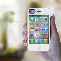 White Broken iPhone  funny iPhone 4 Rubber Case by caseOrama