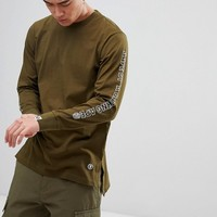 AAPE By A Bathing Ape Longline Long Sleeve T-Shirt With Sleeve Print in Green at asos.com