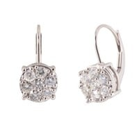 10k White Gold Round Diamond Cluster Leverback Earrings (1/2 cttw, I-J Color, I2-I3 Clarity)