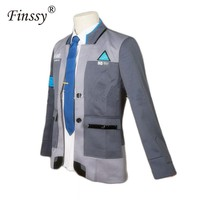 Cool Game Detroit: Become Human Connor RK800 Agent Suit Uniform Tight Unifrom Cosplay Halloween Costume for Men Women Carnival DressAT_93_12