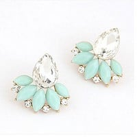 Fashion new fine Korean trend ladies OL sparkling gemstones temperament earrings jewelry