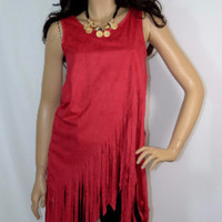 Suede Hippie Fringe Layer Look Crossover Top-Red