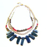 Gold Gilded Agate Natural Stone Chain Crystal Statement Necklace