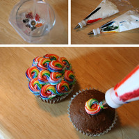 Rainbow frosting in Decoration stuff for cupcakes and muffins