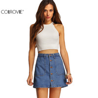 COLROVIE Famous Summer Style Women Mini Skirts High Waist Sexy Womens Pockets Blue Single Breasted Denim A-Line Skirt