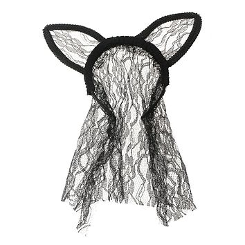 Black Headband Featuring Pleated Lace Trim, Bunny Ears, and Veil