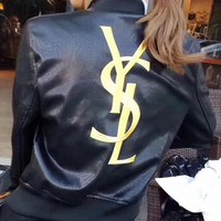 YSL female Leather clothing Embroidery Loose coat-1