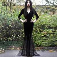 Rosetic Harajuku Goth Long Autumn Maxi Dress Deep V-Neck Sexy Bodycon Party Dress Party Retro Mesh Plus Size Female Vestidos
