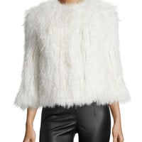 Knitted Mongolian Lamb Fur Coat, Size: SMALL, ivory - Diane von Furstenberg
