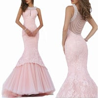 Luxury Pearls Mermaid Prom Dresses 2016 Vestidos De Baile Sequins Pink Lace Long Prom Dress Evening Wear Sweep Train
