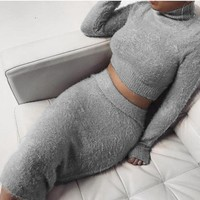 New Autumn Winter Slim Bandage Bodycon Dress Women Sexy Club Casual Long Sleeve Turtleneck 2 Pieces Sweaters Dress Vestidos