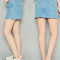 Front Seam Accent Denim Skirt by Hotping