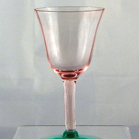 Cordial Glass Rare Watermelon Pink and Green Vaseline Glass