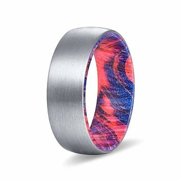DEUS Men's Tungsten Wedding Band with Red & Blue Box Elder Wood Sleeve 8mm