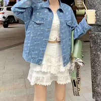 Women Fashion All-match Solid Color Long Sleeve Buttons Diamond Denim Coat