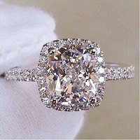 Women Diamonique Platinum plated Filled Wedding Luxury Engagement Ring Size 5-9