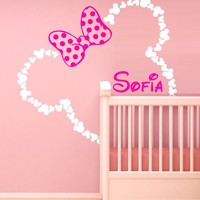 46x42'' Mickey Mouse Ears Minnie with Bow Personalized Baby Name Wall Decal Decor Decals Color Sticker Art Nursery Decor Custom Nursery Surface Bed M1605 Made in USA