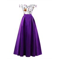 Off the shoulder dress purple printed floor length a line gown women empire cocktail party formal long dresses