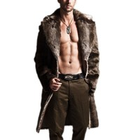 Mens Trench Coats Winter 2018 Fashion Fur Lapel Cool Warm Long Coat Outwear Oversize Parka Jackets With Pockets Mens Overcoat