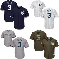 Youth White grey blue Babe Ruth Authentic Jersey , kids #3 New York Yankees Cool Base Home baseball jersey