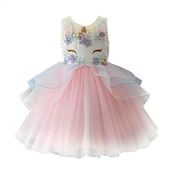 Top Quality Unicorn Party Girl's Princess Dress Children Clothes Baby Party Tulle Dress Halloween Girls Costumes!