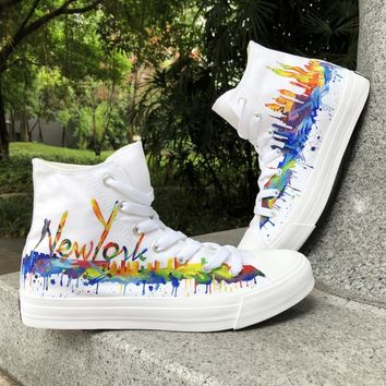 Wen White Hand Painted Shoes Custom Design New York City Skyline Graffiti Shoes Man Woman Canvas Skate Athletic Sneakers
