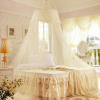Yellow Princess Style Lace Canopy Dome Mosquito Net