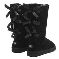 UGG Fashion Women Fur Bow Wool Snow Boots In Tube Boots Shoes-9