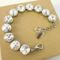 Clear Crystal and White Patina Swarovski crystal bracelet, necklace and earrings, 12mm, sparkly, Bridal -SELECT-A-FINISH- Siggy bling