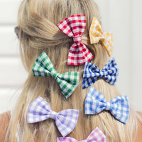 Small Gingham Hair Bow Clip - IN 7 COLOURS
