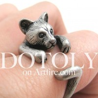 3D Kitty Cat Animal Wrap Around Ring in Silver Sizes 5 to 9 Available