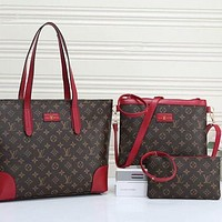 LV Louis Vuitton single shoulder Messenger bag female Tote bag three-piece