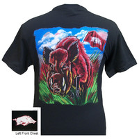 Arkansas Razorbacks Hogs Oil Flag Unisex Bright T Shirt