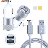 2-Port Smart USB Quick Car Charger & 3FT Type C USB Cable for Samsung Galaxy A3 A5 A7 2017 (A320F A520F A720F) Data Sync Charge