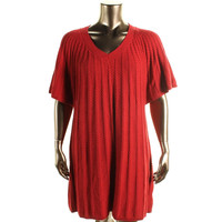 Style & Co. Womens Plus Cable Knit Ribbed Trim Sweaterdress