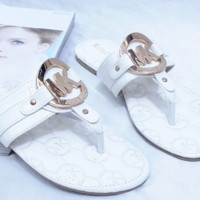 MICHAEL KORS MK New fashion metal buckle flat women sandals slippers White