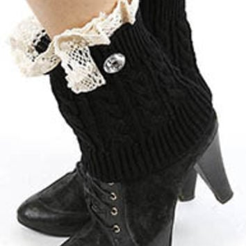 Pau Diamond Lace Accent Short Knit Leg Warmers in Black