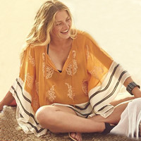 Beach Swimsuit Cover Up Sexy Boho Dress Women Kaftan Beach Tunic  Beachwear