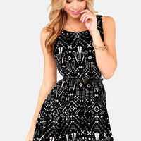 Tucson to Something Ivory and Black Print Dress
