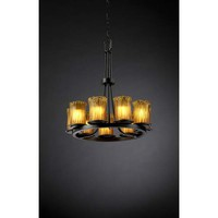 Justice Design Group GLA-8766-16-WHTW-MB Dakota Matte Black and Whitewash Nine-Light Ring Chandelier - (In Whitewash)