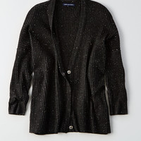 AEO Ribbed Snap Button Cardigan, Black