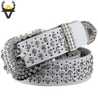 Belts For Women 100% Cowhide Leather Luxury Rhinestone Belt