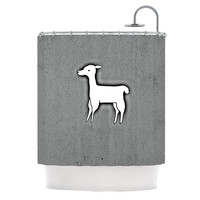 "Monika Strigel ""Llama One"" Grey Shower Curtain"