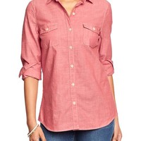 Women's Red Chambray Button-Front Shirts