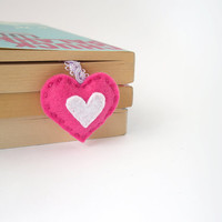 Pink heart bookmark, personalized felt bookmark, initial bookmark, mini heart, hand embroidered