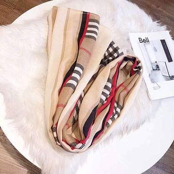Women Temperament Fashion Spell Color  Double-Sided  Lattice Print Cotton And Linen Silk Scarf Shawl