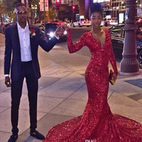Sexy Bling Red Sequined Mermaid Prom Dresses 2016 African Black Girl Long Sleeves V Neck Special Occasion Prom Gowns Vestidos