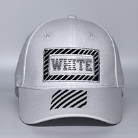 Off White Fashion New Embroidery Letter Stripe Sunscreen Women Men Cap Hat Silver White