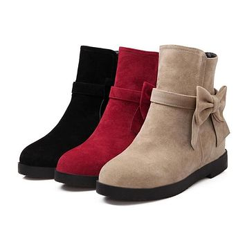 Women's Round Toe Bow Tie Short Boots