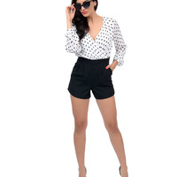 White & Black Dotted Two Tone Long Sleeve Romper